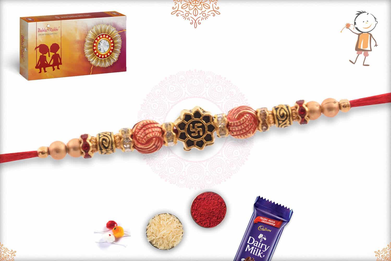 Delicate Swastik Rakhi with Beads 2