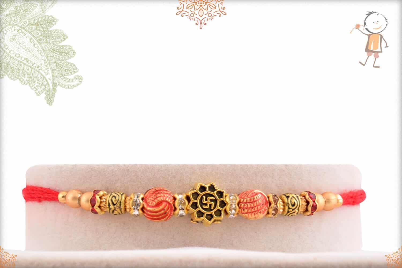 Delicate Swastik Rakhi with Beads 1