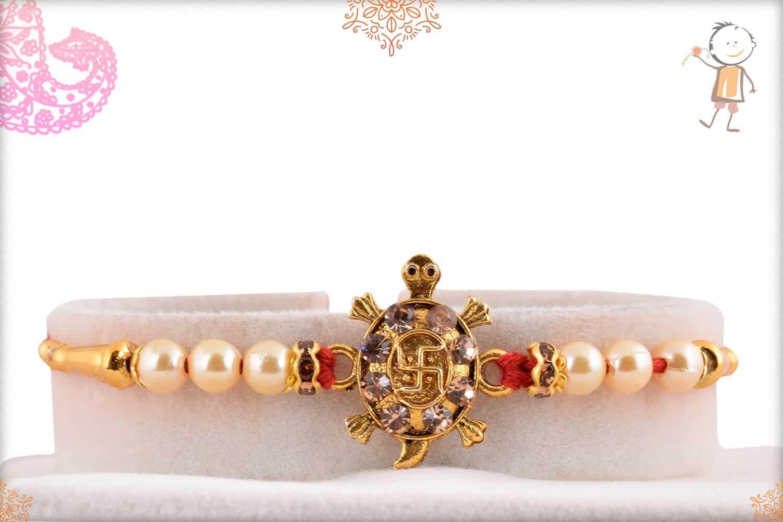 Fortunate Tortoise with Beautiful Pearls Rakhi 1
