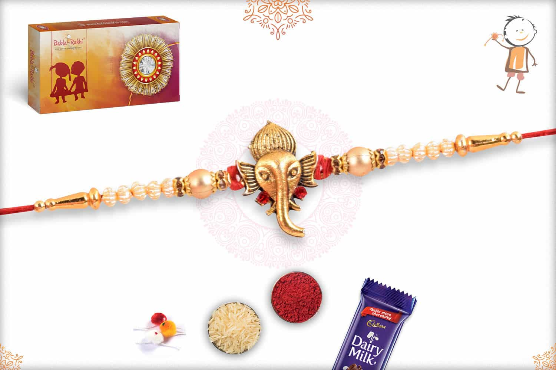 Divine Ganeshji with Unique Pearls Rakhi 2