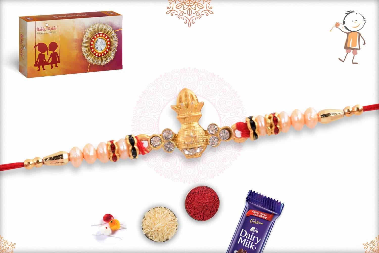 Auspicious Kalash with Pearls Rakhi 2