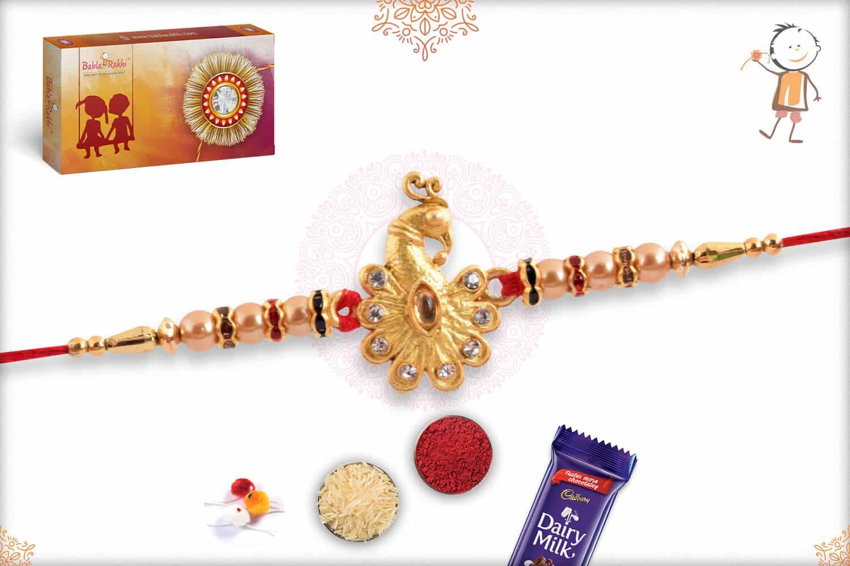 Golden Peacock with Golden Pearls Rakhi 2