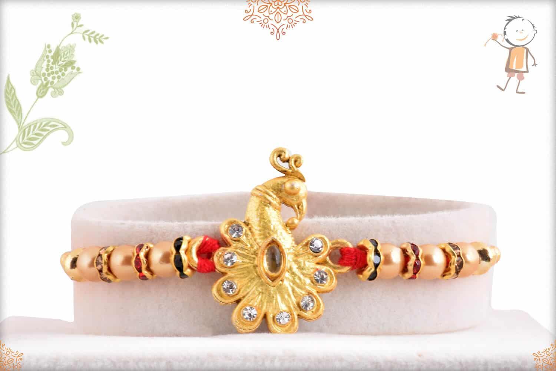 Golden Peacock with Golden Pearls Rakhi 1