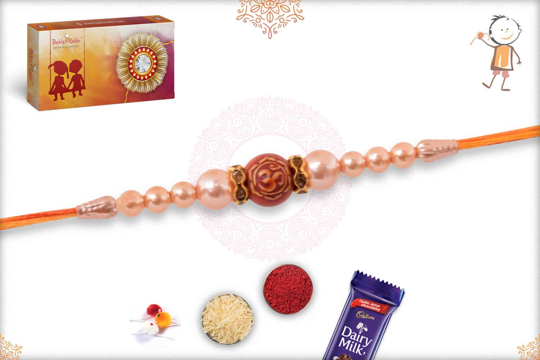 Om with Rose Gold Pearl Rakhi 2