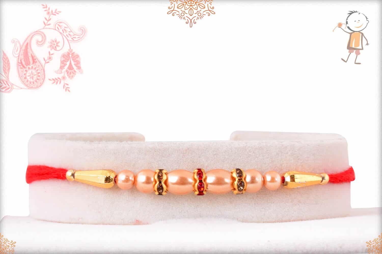 Rose Gold Pearl with Diamond Rakhi 1