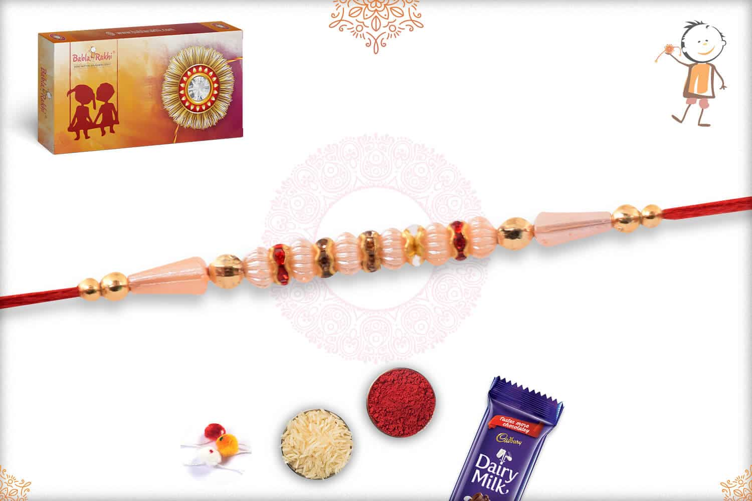 Traditional Pearl Rakhi with Red Thread 2