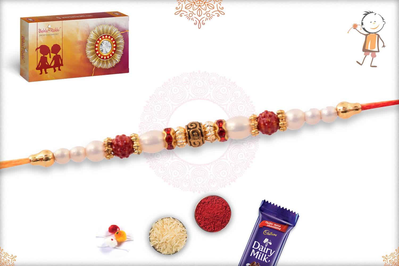 Elegant Pearl Rakhi with Designer Golden Beads 2