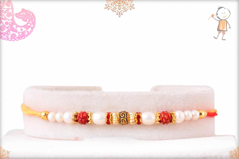Elegant Pearl Rakhi with Designer Golden Beads 1