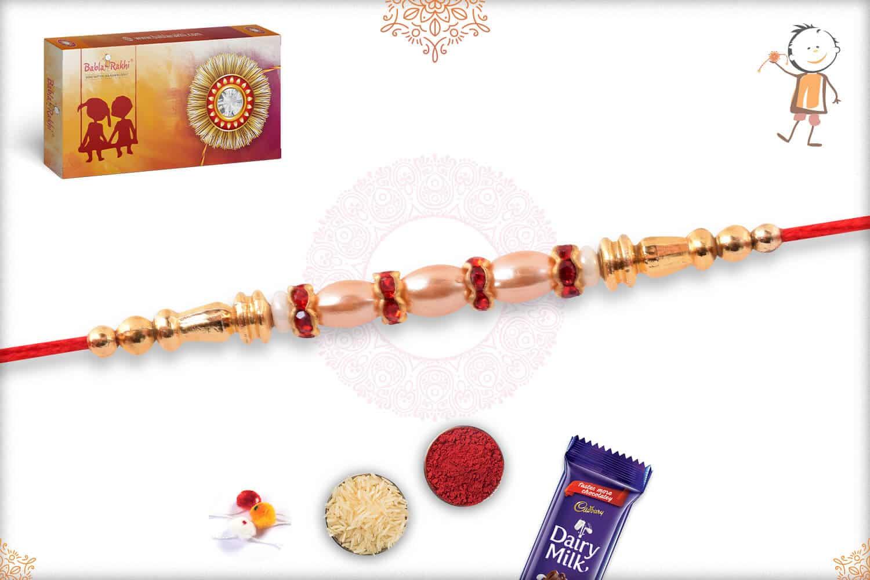 Stunning Pearl Rakhi with Golden Beads and Diamond 2