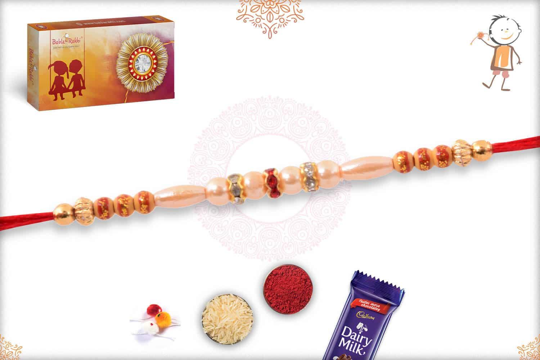 Traditional Pearl Rakhi with Diamond Rings 2