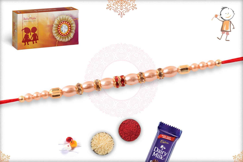 Delicate Oval Pearl with Diamond Rakhi 2