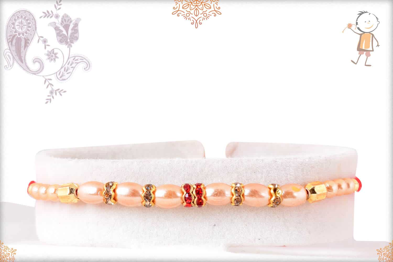 Delicate Oval Pearl with Diamond Rakhi 1