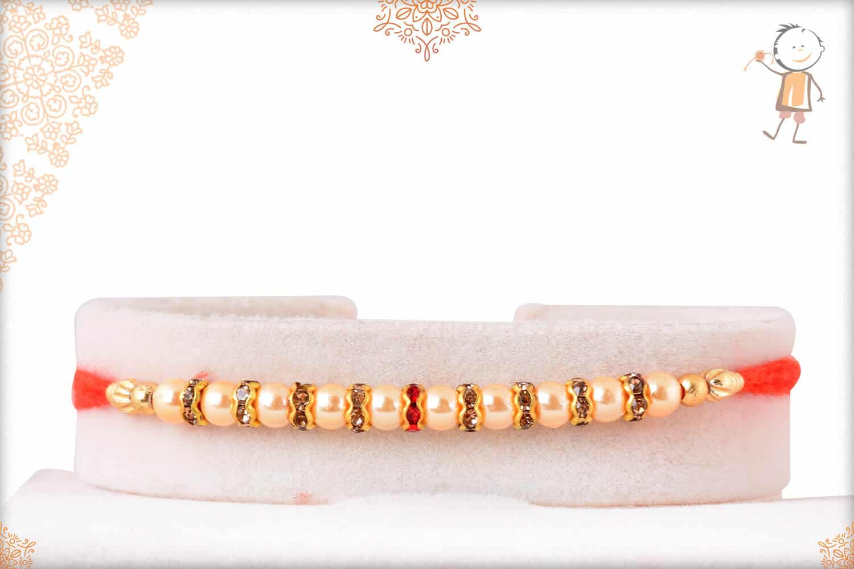 Classy Pearl Diamond Rakhi 1