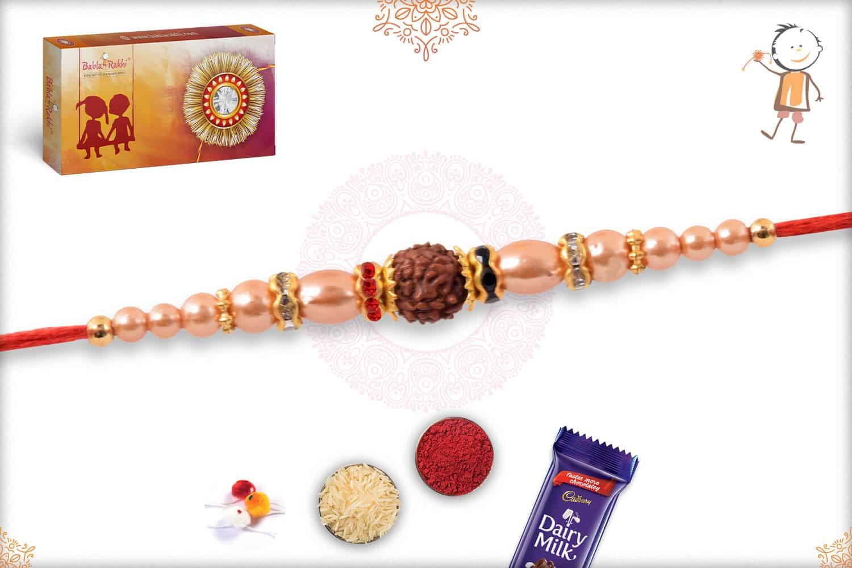 Elegant Pearl Rakhi with Golden Beads 2