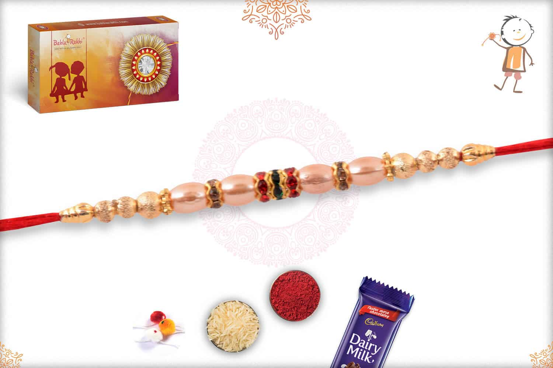 Beautiful Pearl with Golden Beads Rakhi 2