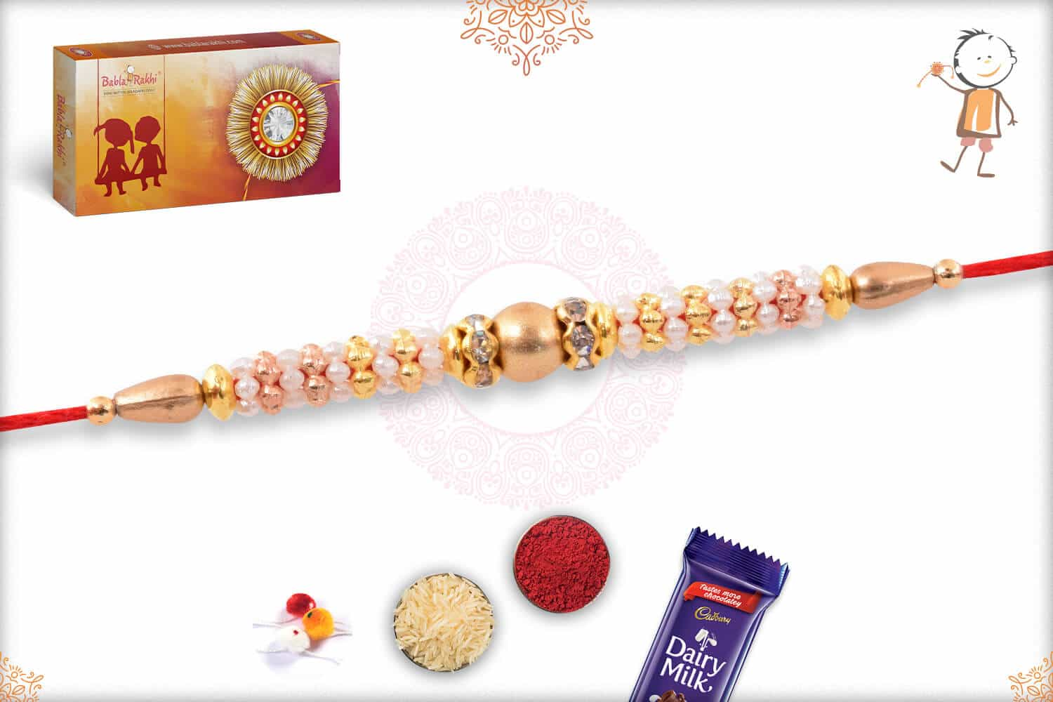 Delicate Pearl Rakhi with Beads 2