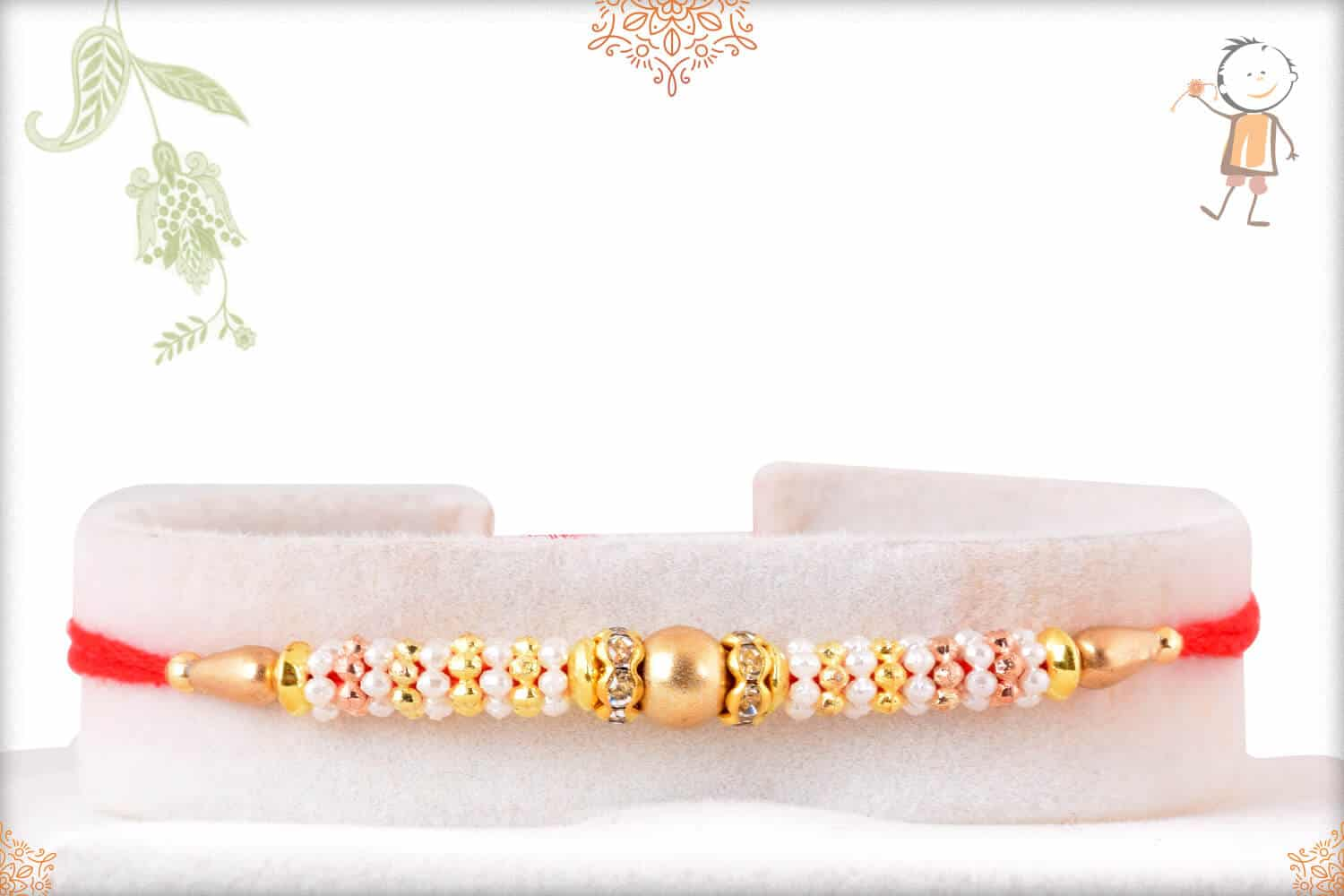 Delicate Pearl Rakhi with Beads 1