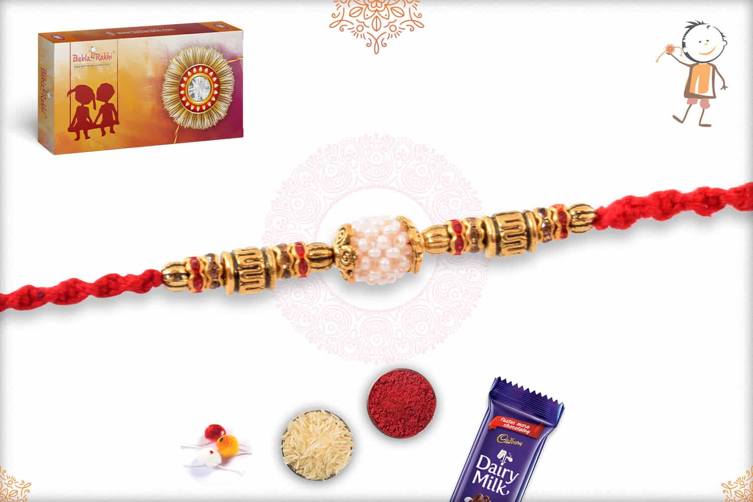 Handcrafted Pearl Rakhi with Golden Beads 2