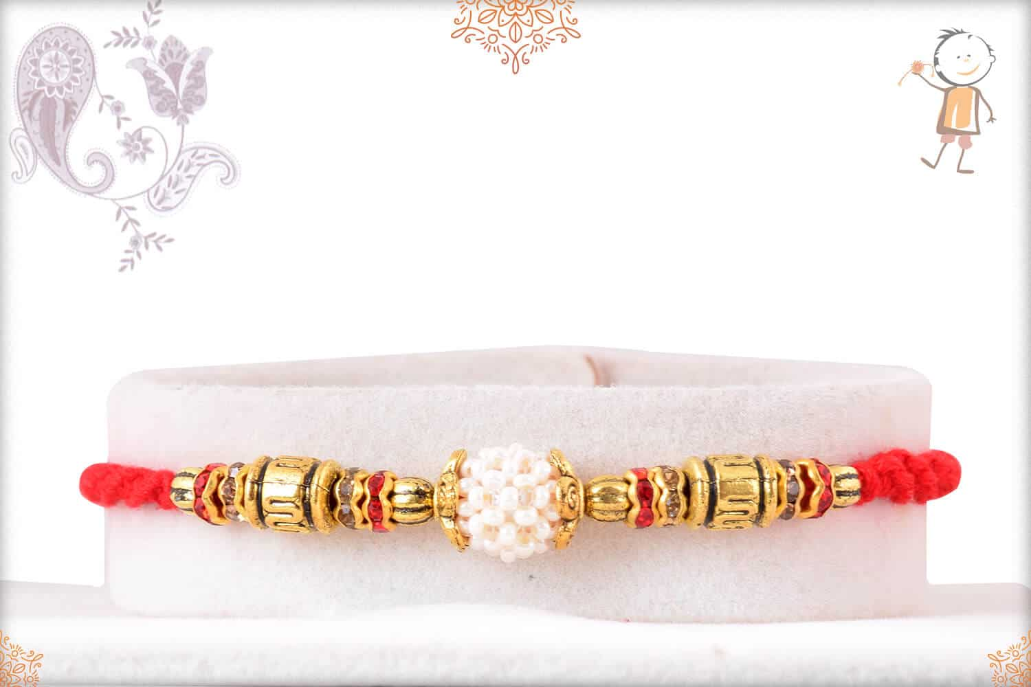 Handcrafted Pearl Rakhi with Golden Beads 1