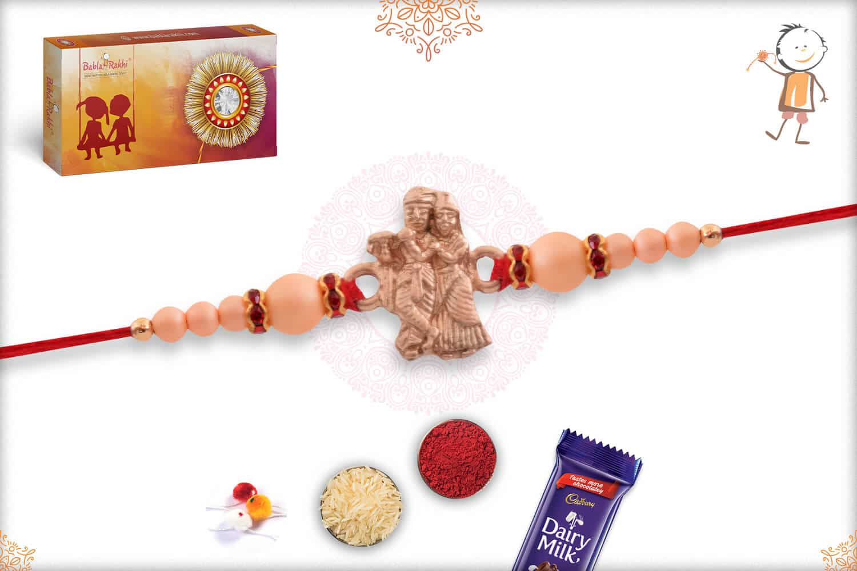 Radha-Krishana Rakhi with Rose Gold Pearls 2