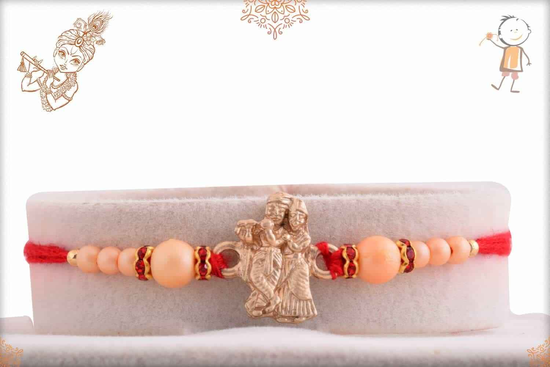Radha-Krishana Rakhi with Rose Gold Pearls 1