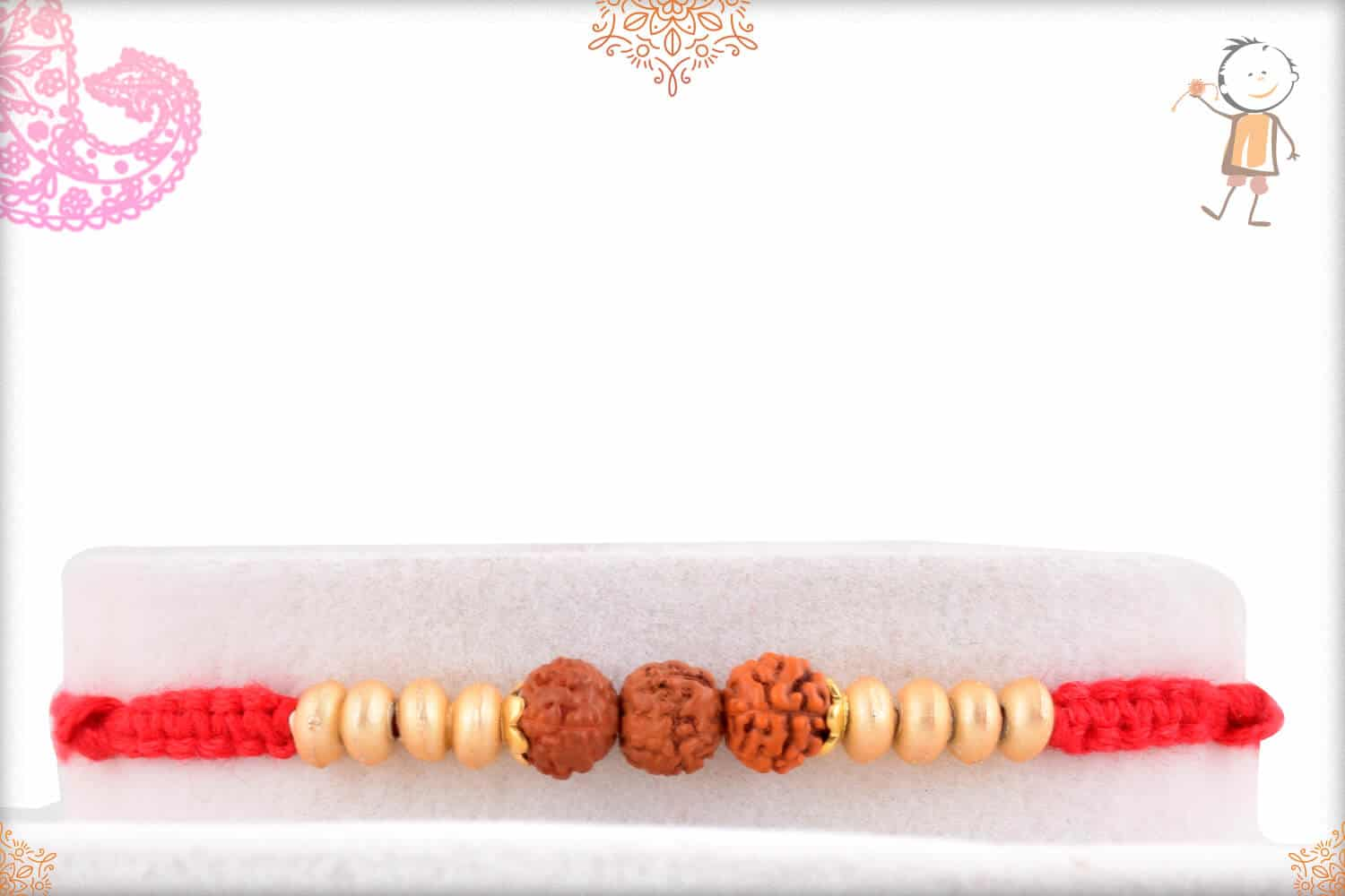 Uniquely Knotted Three Rudraksh Rakhi with Golden Beads 1