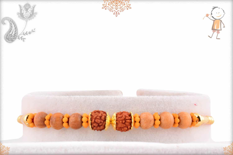 Delicate Rudraksh Rakhi with Sandalwood Beads 1