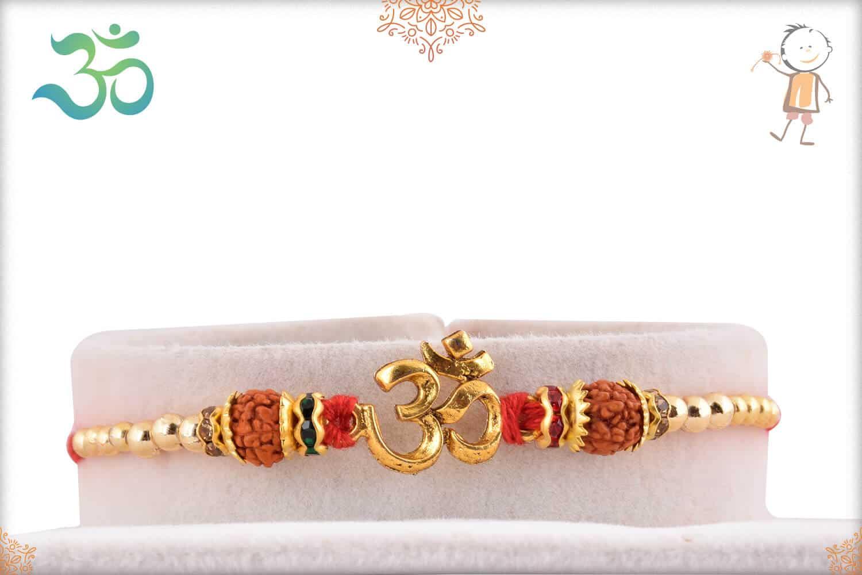 Auspicious Golden OM with Rudraksh Rakhi 1