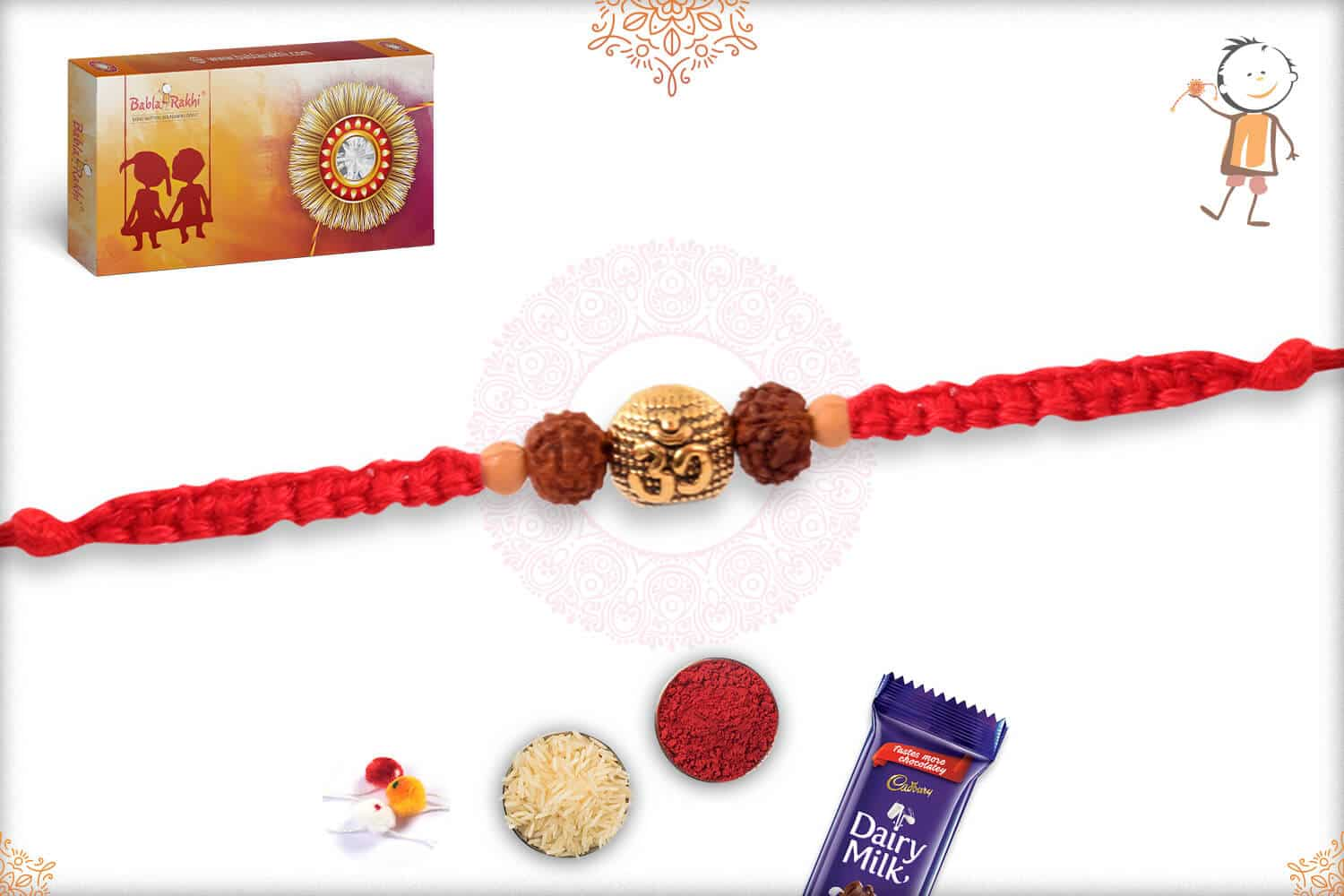 Uniquely Knotted Three Rudraksh Rakhi with Golden Beads 2