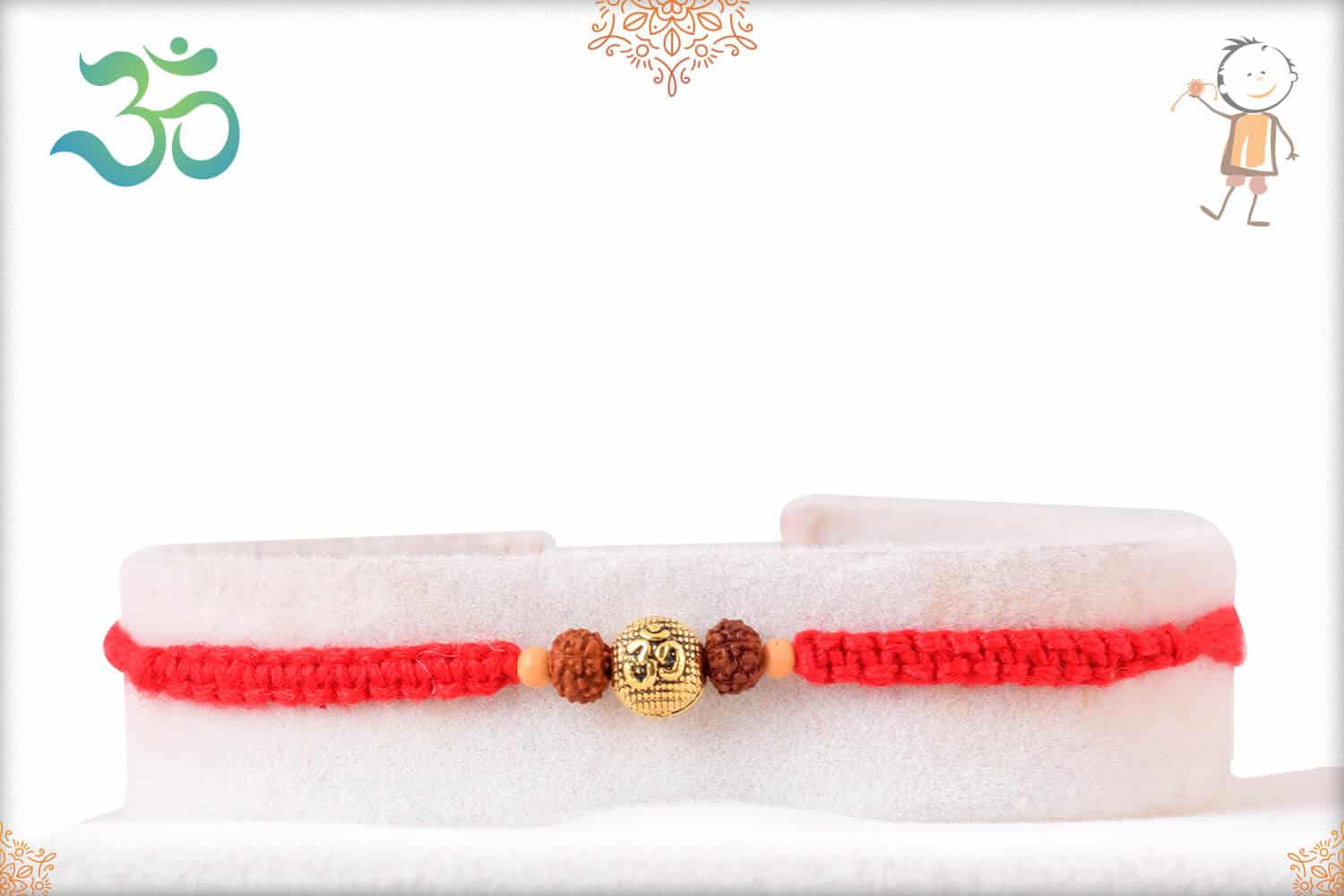 Uniquely Knotted OM with Rudraksh Rakhi 1