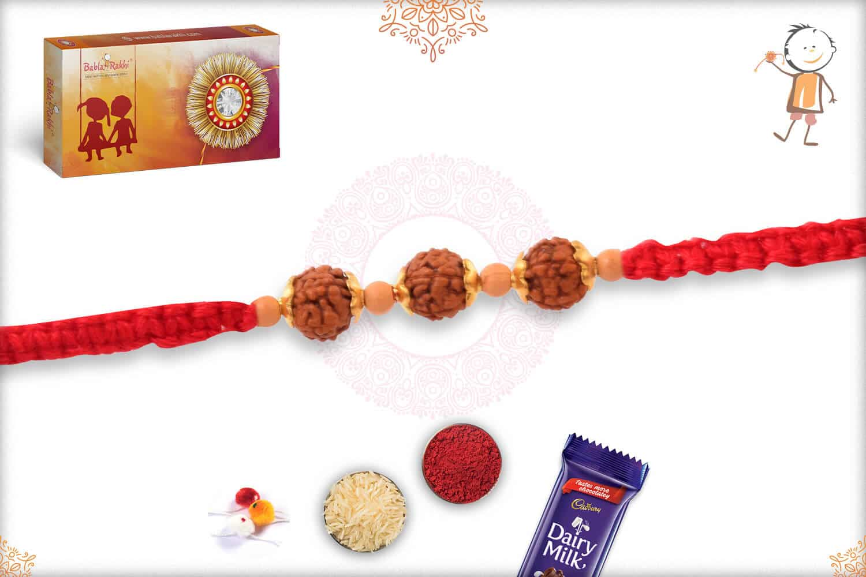 Uniquely Knotted Three Rudraksh Rakhi 2