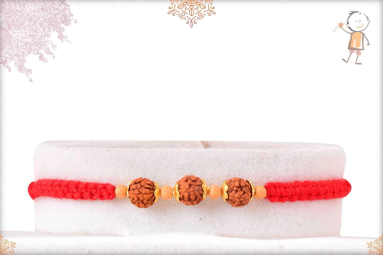 Uniquely Knotted Three Rudraksh Rakhi 1
