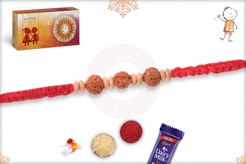 Uniquely Knotted Rudraksh Rakhi with Aromatic Sandalwood Bead 2