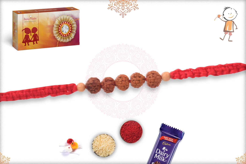 Delicate Rudraksh Rakhi with Sandalwood Beads 2