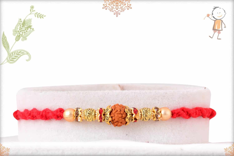 Elegant Rudraksh Rakhi with Golden Beads 1