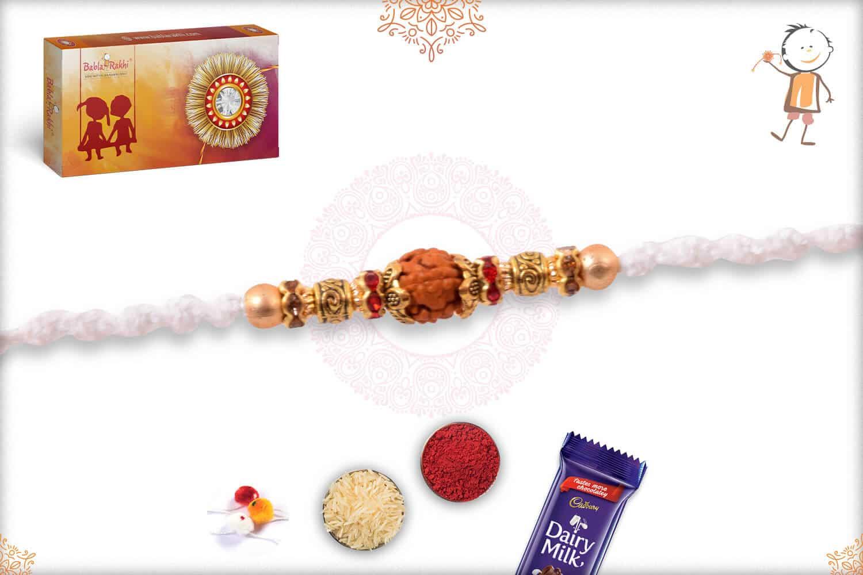 Auspicious Golden OM with Rudraksh Rakhi 2