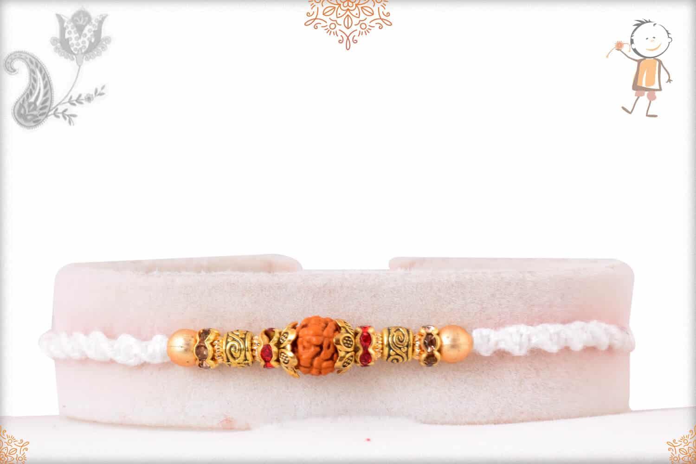 Elegant Rudraksh White Thread Rakhi with Golden Beads 1