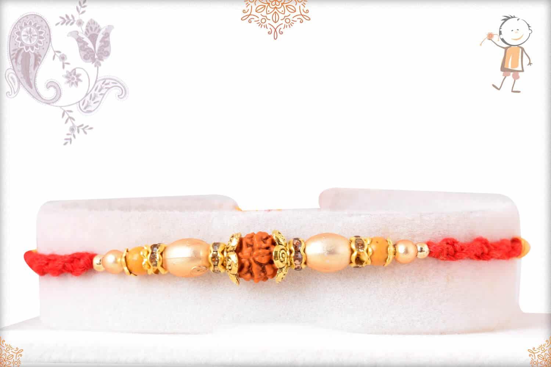 Elegant Rudraksh Mauli Thread Rakhi with Golden Beads 1