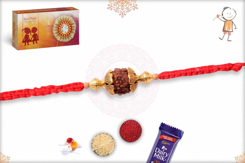 Single Rudraksh Rakhi with Aromatic Sandalwood Beads 2