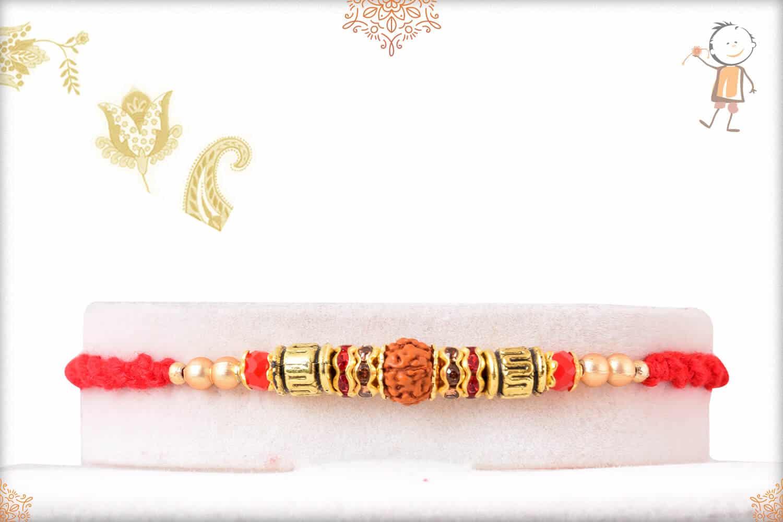 Delicate Rudraksh Rakhi with Beads 1
