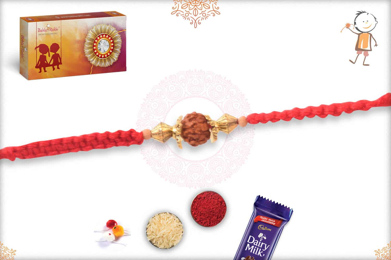 Uniquely Knotted Five Rudraksh Rakhi 2