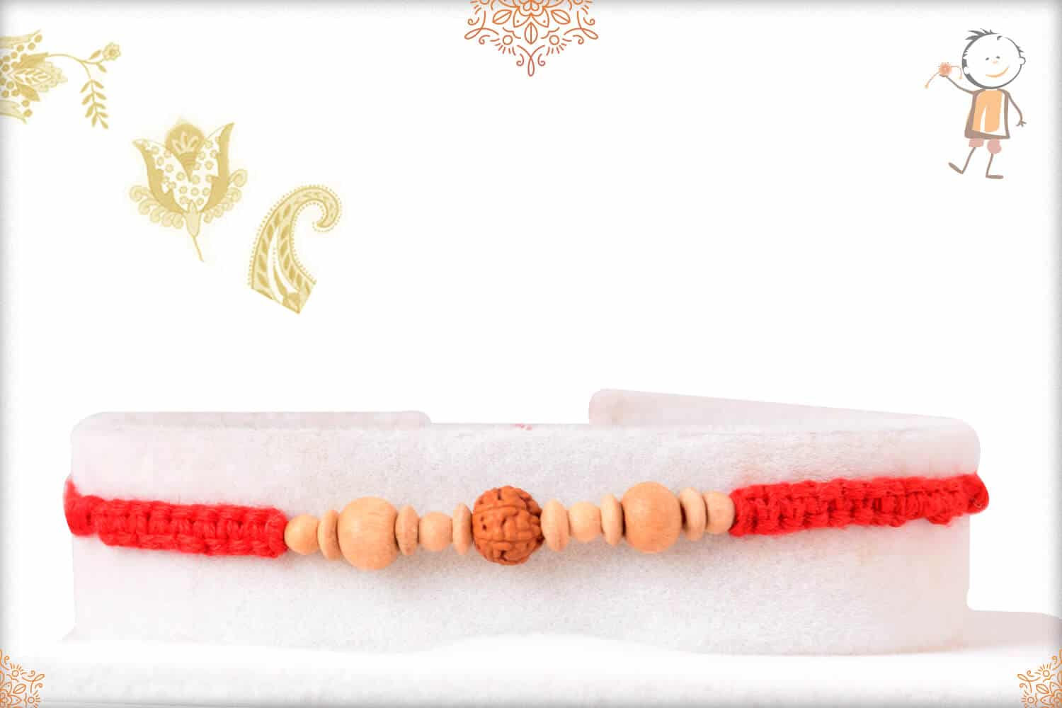 Delicate Uniquely Knotted Rudraksh Rakhi with Sandalwood Beads 1
