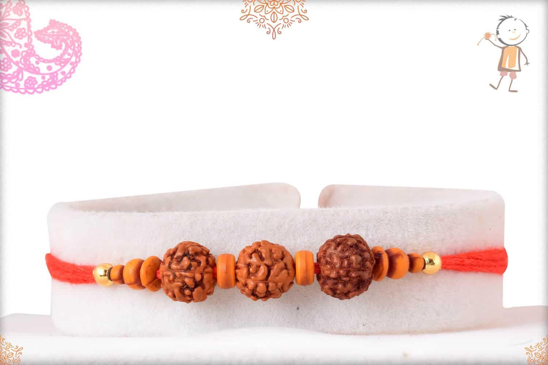 Simple Rudreaksh Rakhi with Beads 1