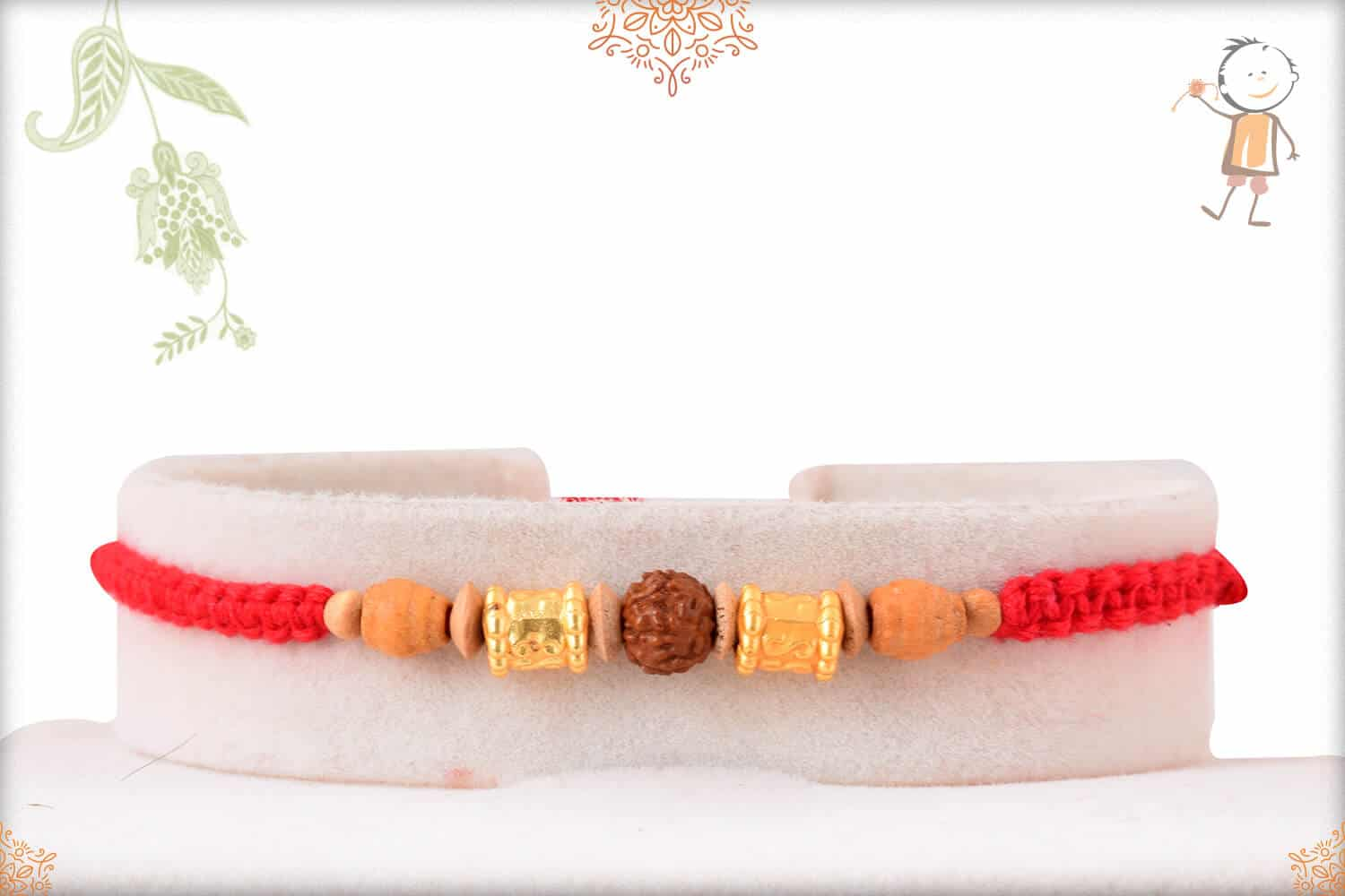 Rudraksh and Sandalwood Bead Rakhi with Uniquely Knotted Thread 1