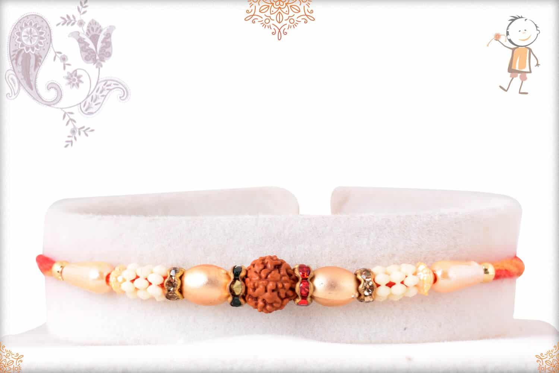 Traditional Rudraksh Rakhi with Pearls 1