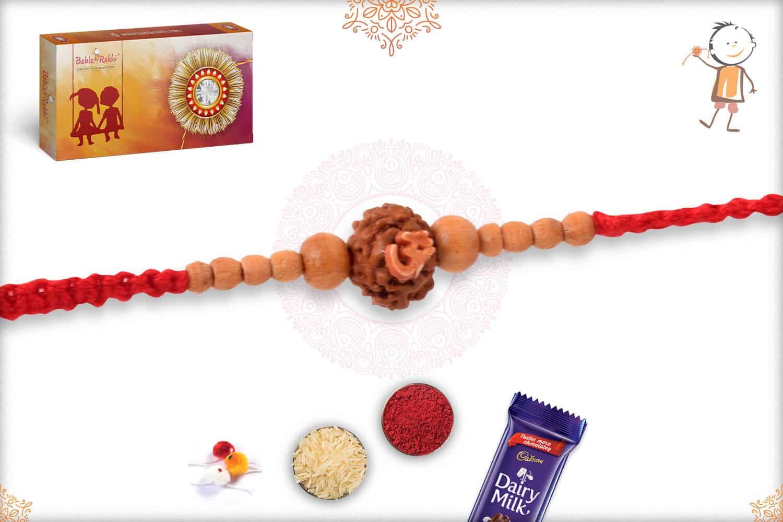 Uniquely Knotted Rudraksh with Sandalwood Rakhi 3