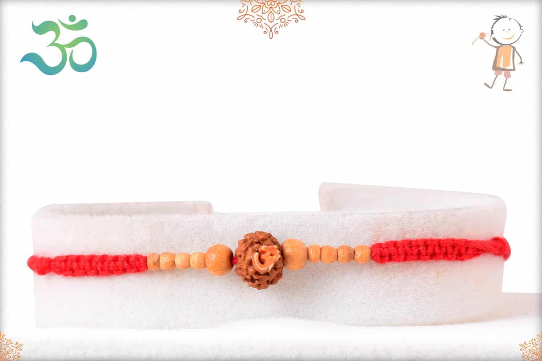 OM Rudraksh Rakhi with Sandalwood Beads 1