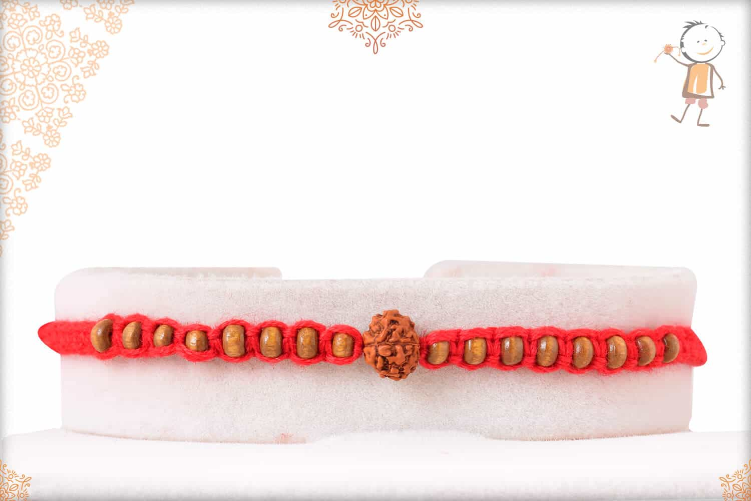 Uniquely Knotted Rudraksh Rakhi with Small Beads 1