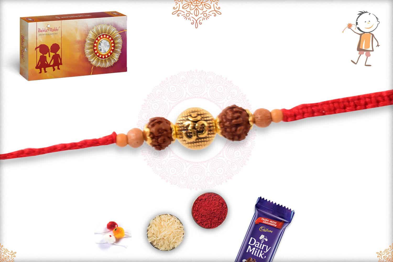 Elegant Rudraksh Rakhi with Golden Beads 2