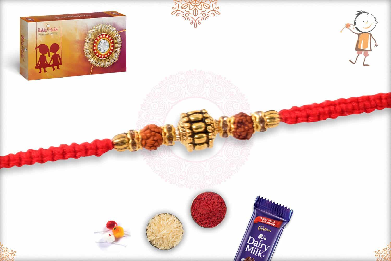 Elegant Rudraksh White Thread Rakhi with Golden Beads 2